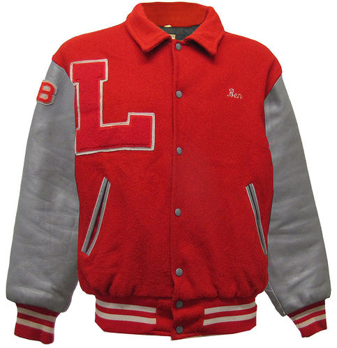 Varsity Jacke Vintage made in USA Lederärmel tolle Patches in Größe L