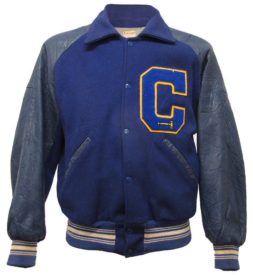 Varsity Jacke Original Vintage made in USA Lederärmel mit Chenille Patch in Größe L