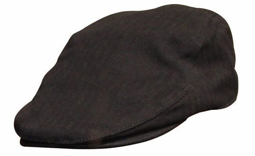 Vintage Flat Cap aus Heavy Washed Cotton in black in SM oder L/XL lieferbar