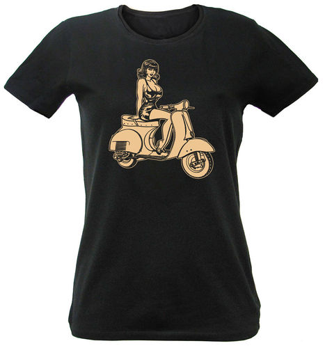 Woman T-Shirt Pin Up Vespa GS150 Vintage Scooter in black