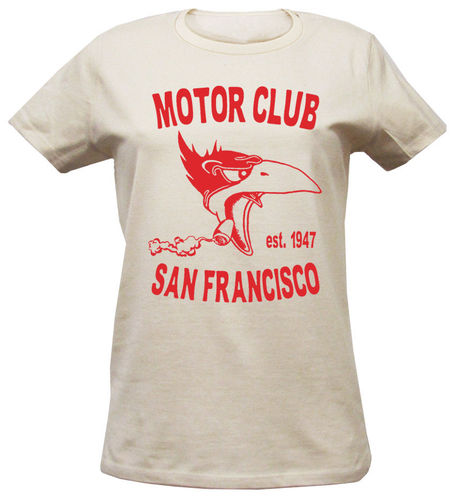 Woman T-Shirt San Francisco Motor Club in vintage white