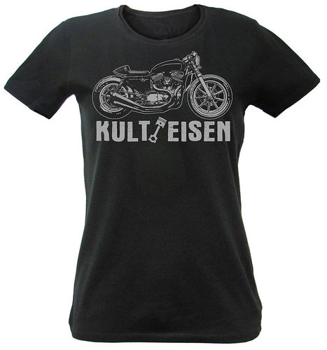 Women T-Shirt Kulteisen Harley Cafe Racer Custom Design in black S-XL