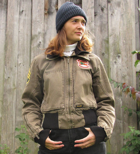 Women Army Jacke von Wrangler Gr S mit Patches used Style perfect secondhand