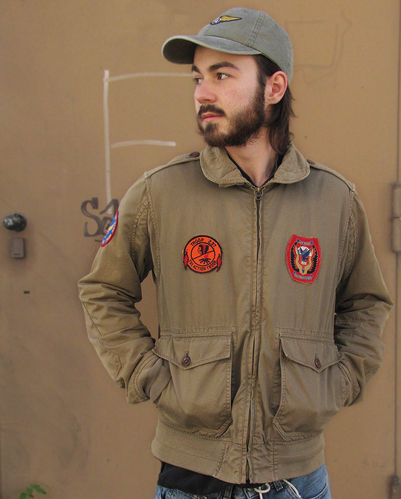 "Vintage Army Air Force Jacke ""Troop 237"", von R95th, Größe M, mit US-Patches used washed"
