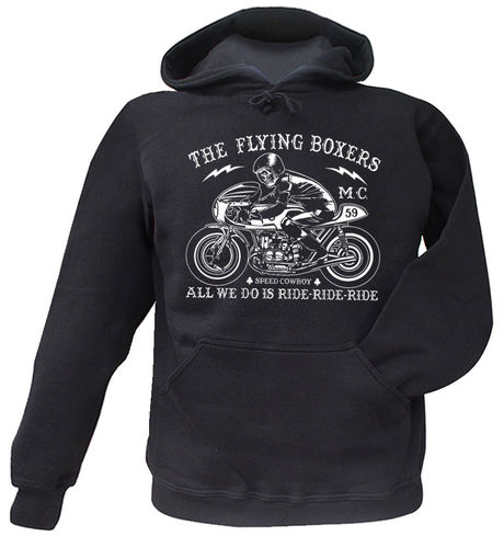 Hooded Sweat The Flying Boxers Ride-Ride-Ride Motorcycle Print vorn M-XXL