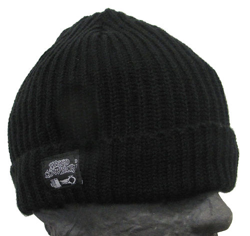 Watch Beanie kurze Retroform Soft-Touch Rippstrick in schwarz